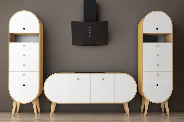 Azeitona moderna simples - cozinha verde em um piso de madeira. renderização 3d