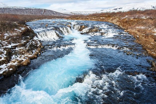 Azul, água, outono, ao longo, rio, bruarfoss, cachoeira