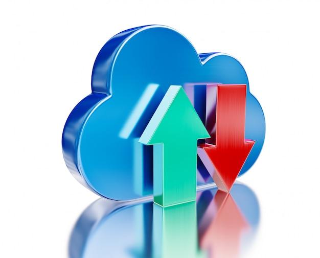 Azul brilhante nuvem e upload baixar setas