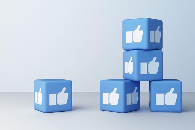 Azul como ícone projetado caixa 3d renderização em 3d