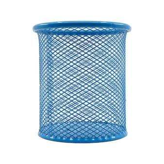 Azul da cor da cesta da pena isolado no fundo branco.