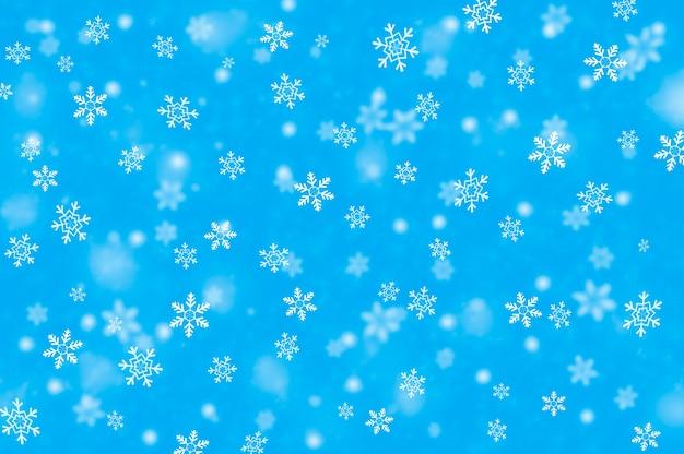 Azul de neve de inverno. flocos de neve caindo