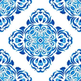 Azul e branco abstrato desenhado à mão da telha do damasco sem costura ornamental retrô aquarela pintura padrão. textura elegante e luxuosa desenhada à mão para papéis de parede, planos de fundo e preenchimento de página em azul e branco