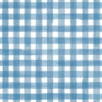 Azul e branco grunge guingão tartan xadrez ripply abstrato geométrico padrão de fundo sem emenda. mão-extraídas textura perfeita. papel de parede, embalagem, têxtil, tecido