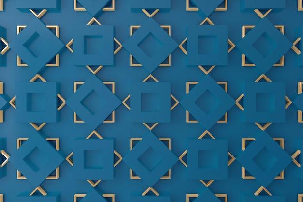 Azul e ouro parede 3d para plano de fundo, pano de fundo ou papel de parede