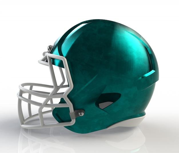 Azul escovado galvanizado vista lateral de capacete de futebol americano em um fundo branco com traçado de recorte detalhado, renderização em 3d
