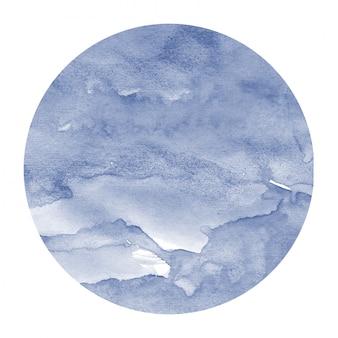 Azul escuro mão desenhada aquarela moldura circular textura de fundo com manchas