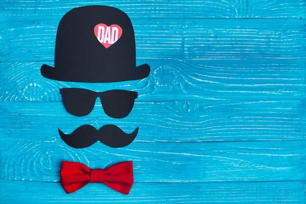 Azul, madeira, fundo, personagem, pai, dia