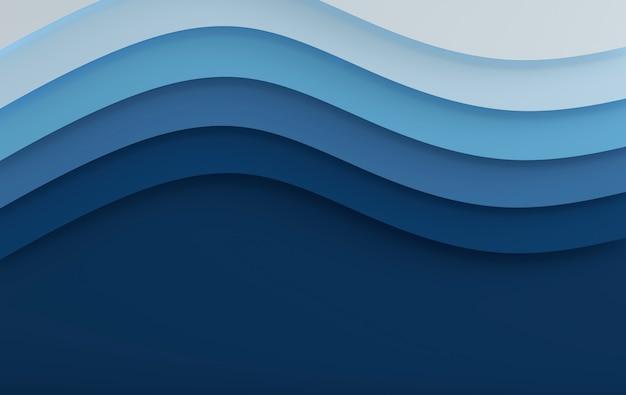 Azul mar elegante papel arte cartoon abstrato ondas