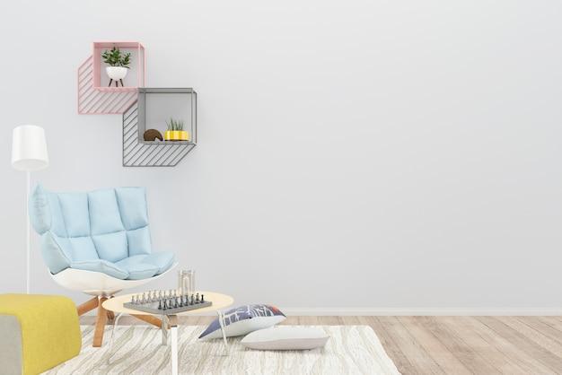 Azul poltrona travesseiro prateleira sala de estar piso de madeira fundo textura lâmpada tbale