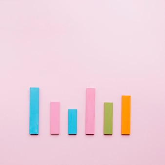 Azul; rosa; verde; e uma barra de laranja em uma linha no fundo rosa