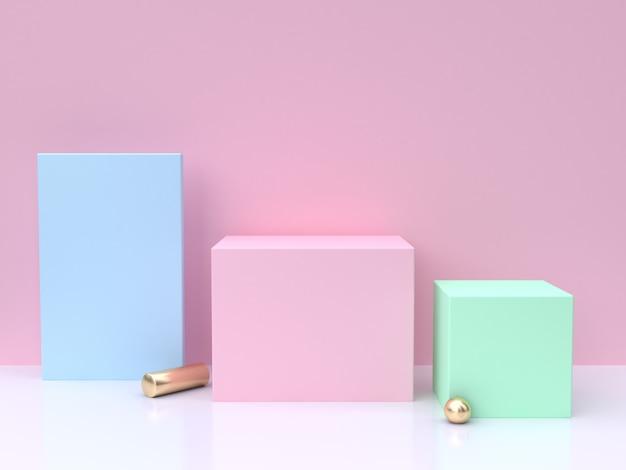 Azul rosa verde mínimo abstrato 3d render