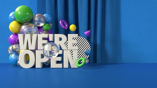 Azul somos modelo de banner aberto, render 3d