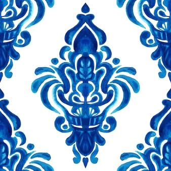 Azulejo abstrato arabesco damasco aquarela mão desenhada sem costura padrão para tecido e design de cerâmica. elemento decorativo em azulejo azul e branco.
