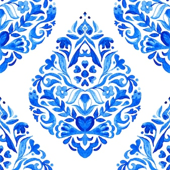Azulejo abstrato arabesco damasco aquarela mão desenhada sem costura padrão para tecido e design de cerâmica.