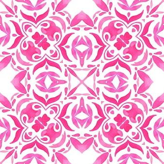 Azulejo abstrato desenhado à mão rosa e branco sem costura ornamental padrão de pintura em aquarela