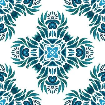 Azulejo cerâmico clássico desenhado à mão sem costura ornamental padrão de pintura em aquarela