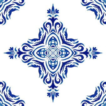 Azulejo de azulejo vintage em damasco sem costura ornamental aquarela arabesco
