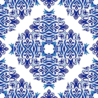 Azulejo floral abstrato decorativo azul e branco azulejo desenhado à mão azulejo sem costura ornamental padrão de pintura em aquarela