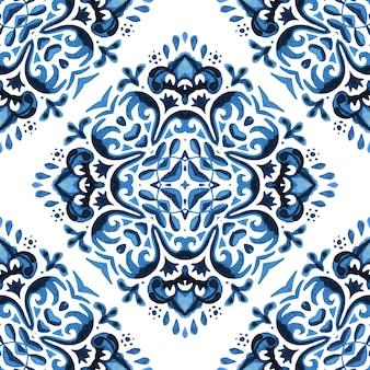 Azulejo português azulejo. projeto de tecido de azulejos orientais de azulejos de padrão aquarela floral azul lindo sem emenda.