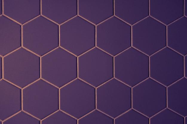 Azulejos hexagonais de padrão roxo