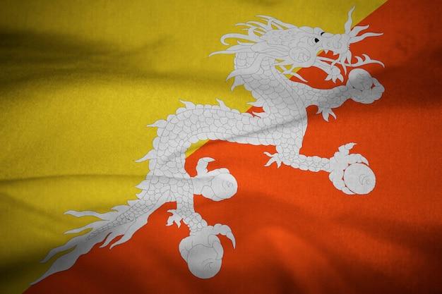 Babados bandeira do butão soprando no vento