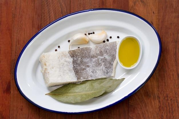 Bacalhau salgado com azeite