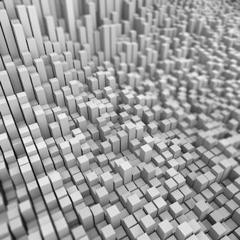 Bacground abstrato 3d de cubos extrudados com profundidade de campo