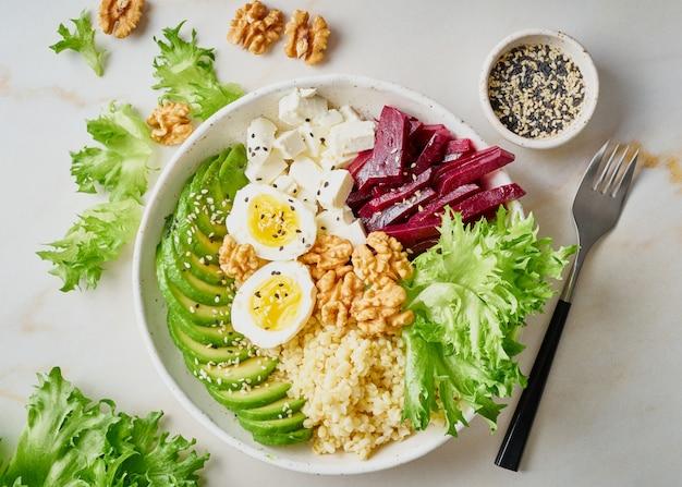 Bacia de buddha, alimento equilibrado, menu do vegetariano.