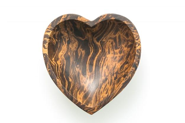 Bacia de madeira com forma de coração