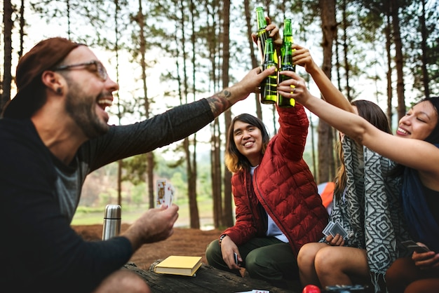 Backpacker camping caminhadas viagem viagem trek concept