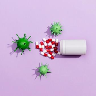 Bactérias e pílulas de vírus