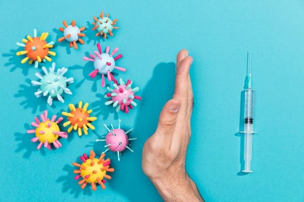Bactérias e seringa