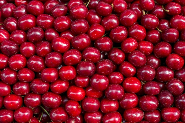 Baga de cereja vermelha fresca abstrata fruta colorida textura de fundo