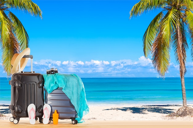 Bagagem de malas com chapéu de palha, pareo azul, chinelos, frasco de protetor solar e câmera retro contra a incrível praia do oceano com palmeiras