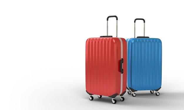 Bagagem de viagem saco vermelho luz azul cor