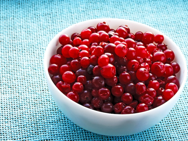 Bagas de cranberries em uma tigela branca