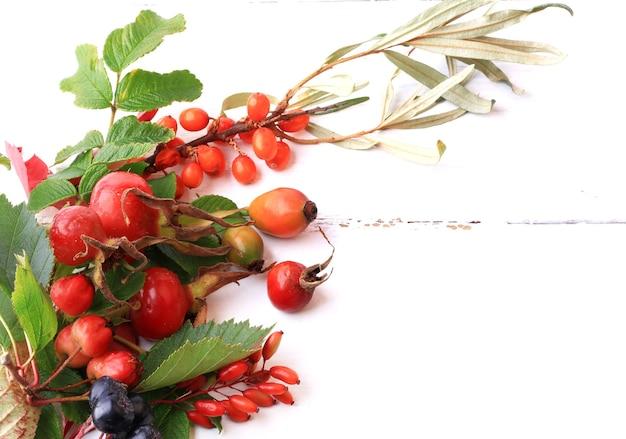 Bagas de outono para chá em um fundo branco de madeira rosa mosqueta rowan espinheiro mar espinheiro chokeberry preto