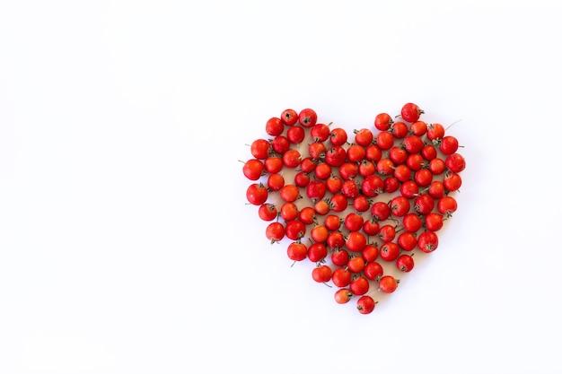 Bagas frescas de espinheiro em forma de coração