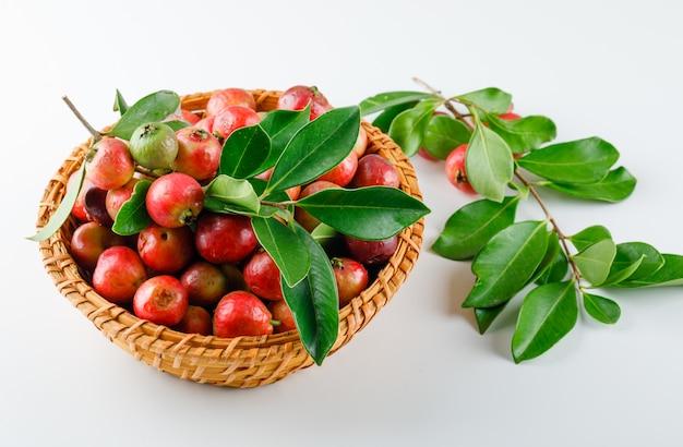Bagas vermelhas em uma cesta de vime com folhas