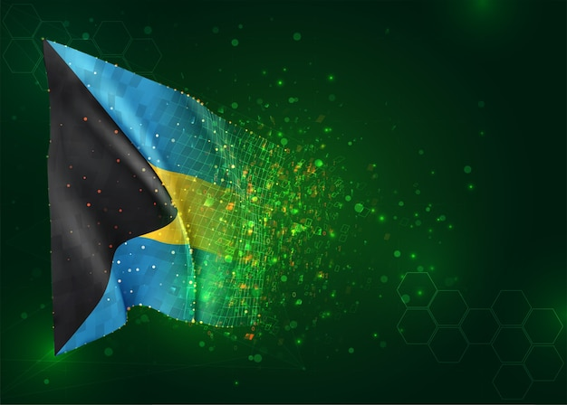 Bahamas, vetor bandeira 3d em fundo verde com polígonos e números de dados
