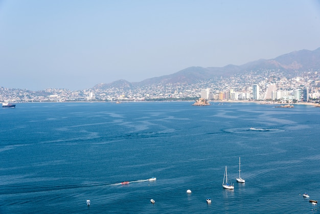 Baía de acapulco, vista aérea do méxico