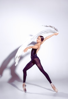 Bailarina com roupa preta, posando nos dedos do pé, fundo de estúdio.