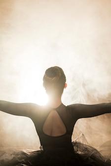 Bailarina de vista traseira na fumaça
