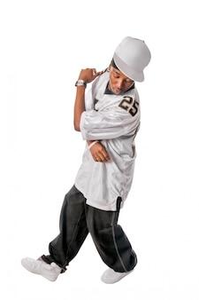 Bailarina jovem de hip-hop em branco