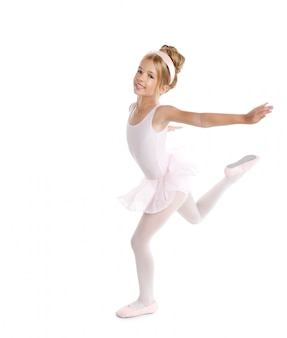 Bailarina pequena bailarina crianças dançarina em branco