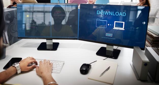 Baixar arquivos de dados, informações, conceito de compartilhamento de internet