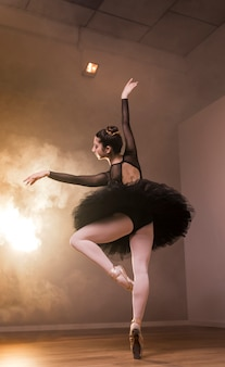 Baixo ângulo, vista traseira, bailarina, posar