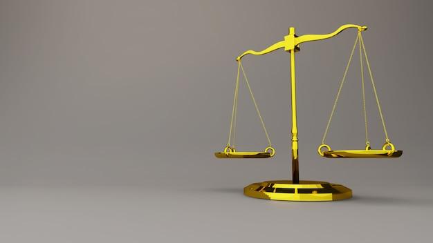 Balança da justiça lei escalas 3d render