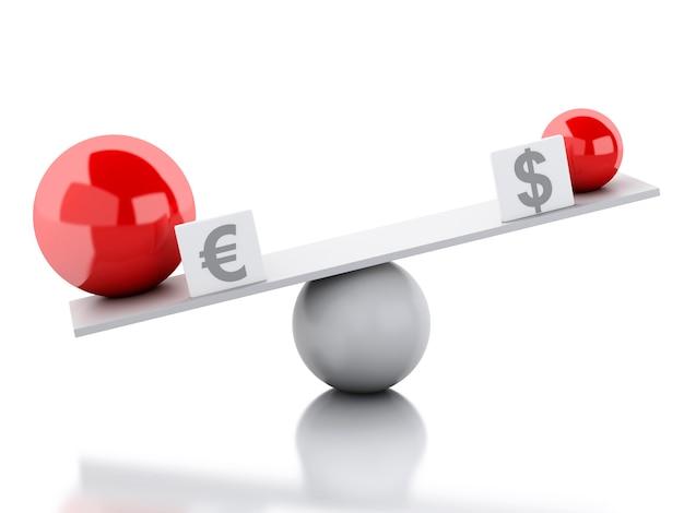 Balança de balanço euro e dólar